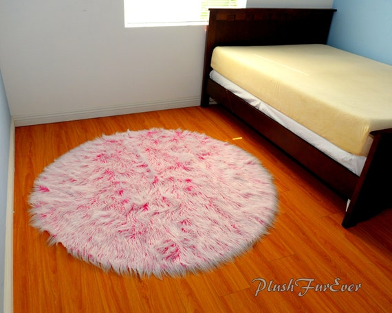 nursery rug pink white mongolian fur throw area rug baby girls. Black Bedroom Furniture Sets. Home Design Ideas