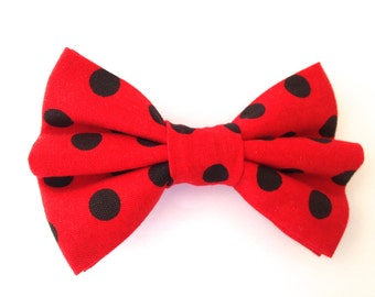 Red and Black Hair Bow, Red polkadot hair bow, Red hair Bow, Red Bow, Red and Black Bow, Hair Bow, Polkadot hair bow, Red polkadot bow,