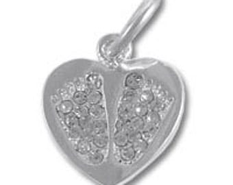 Sterling Silver Precious CZ Baby Feet Charm, Baby Feet in a Heart Charm, Bulk Silver Charms, Charm for Charm Bracelet, Baby and Kids CREN430