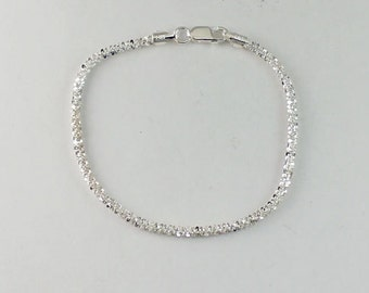 "7.5"" 3mm Diamond Cut Rope Bracelet, Vintage Inspired Jewelry, Rope Jewelry,  Sterling Silver, Rope Bracelet, Everyday Wear, Dainty, EBR07"