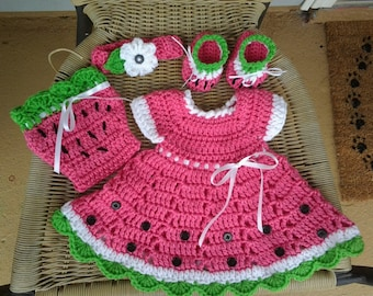 Crochet pink watermelon baby dress set, pink crochet toddler dress with panties, booties & headband, pink baby girl outfit, toddler dress