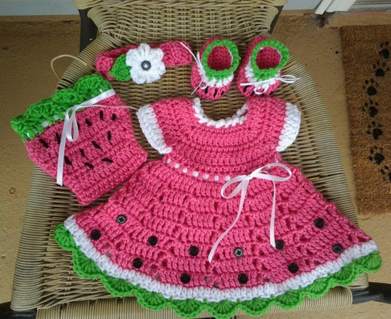 Free Crochet Watermelon Dress Pattern : Crochet pink watermelon baby dress set pink crochet toddler