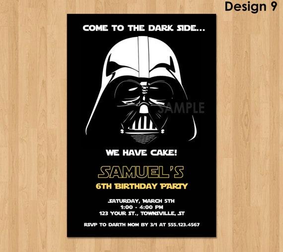 Darth Vader invitación invitación de cumpleaños de Star Wars