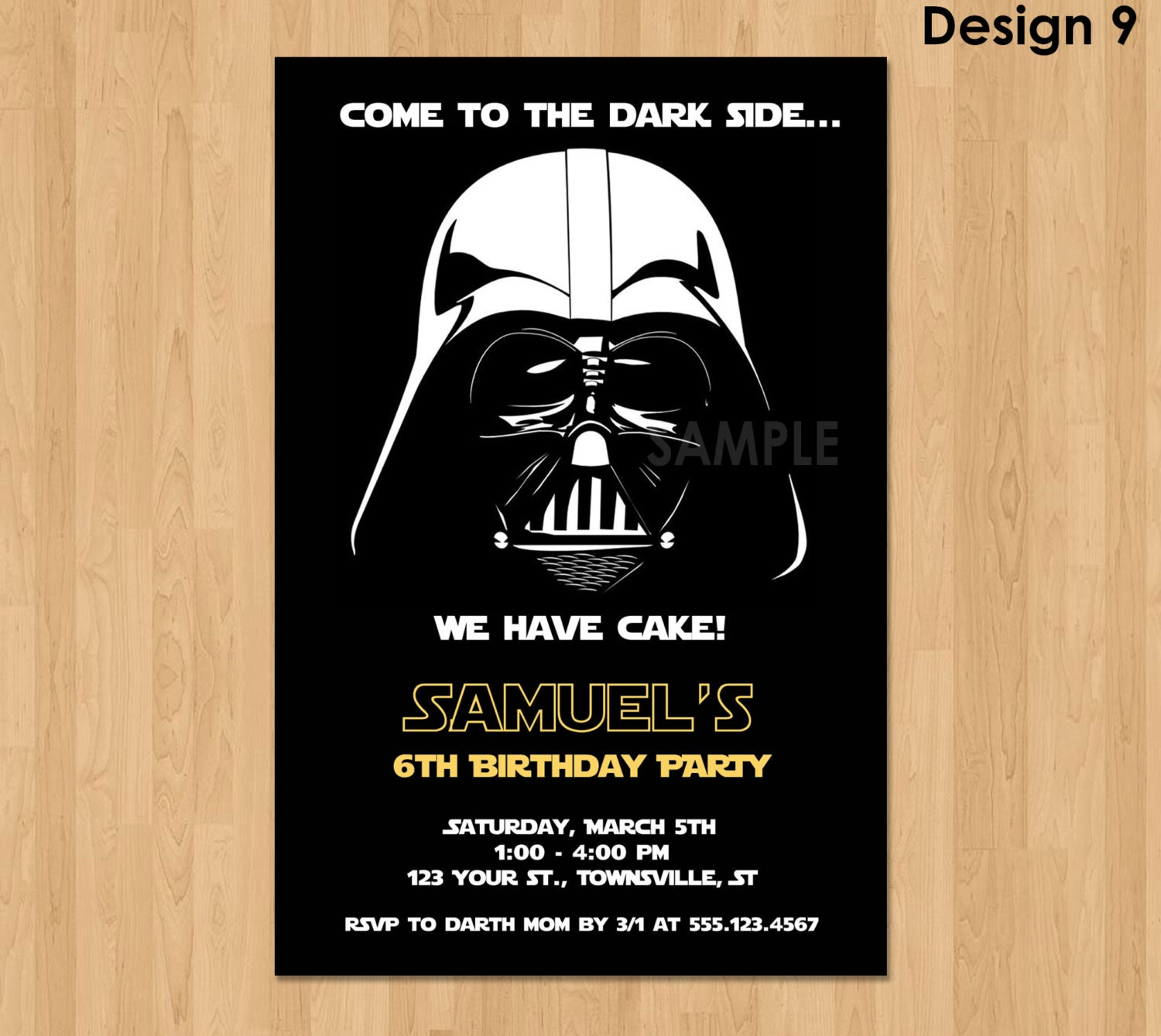Darth Vader Invitation Star Wars Birthday Invitation Star