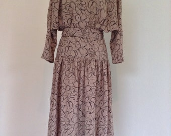 1980s ETAM Dropped Waist Tea-Dress - Free Postage