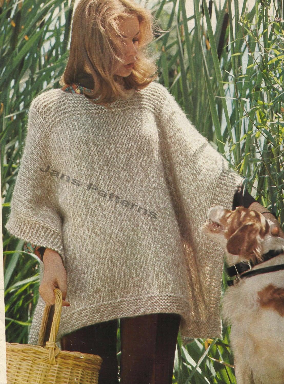 Woman's Easy Knit poncho/wrap knitting pattern in PDf