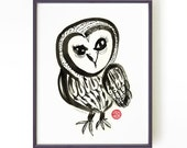 Owl print, Black and white watercolor, Chinese ink painting, Chinoiserie Art, Wall decor, Apartment decor, 8x10 Buy 2 Get 1 Free