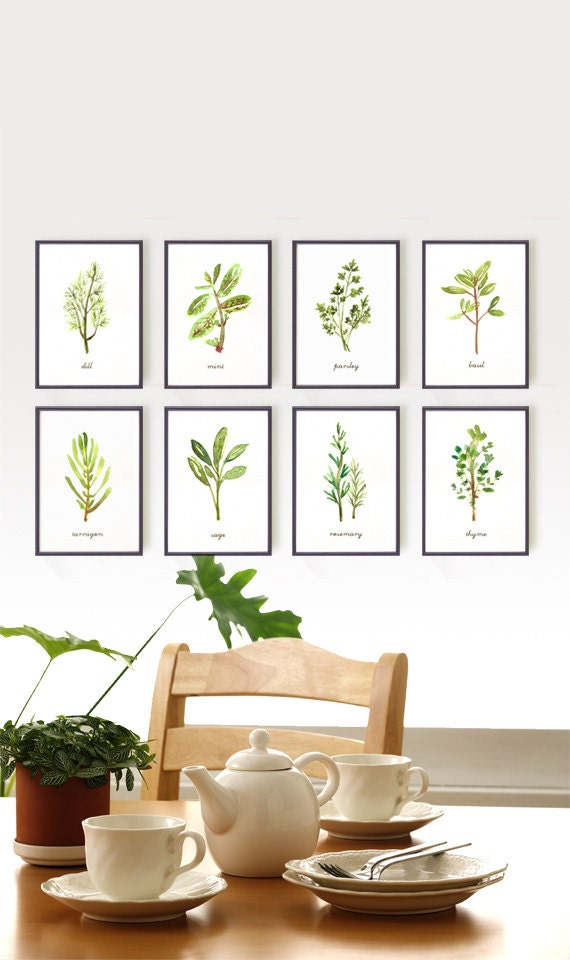Watercolor herb print set of 8 5x7 4x6 kitchen art by for Art prints for kitchen wall