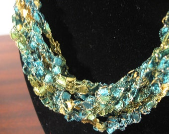 Green, Yellow and Gold Trellis Necklace / Crochet Necklace Item No. M2