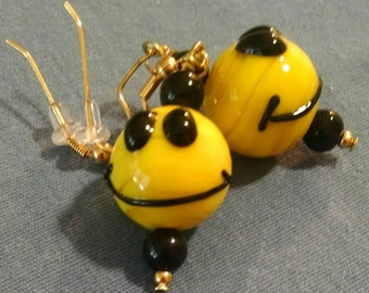 Smiley Face Glass Bead Earrings Item No. 52
