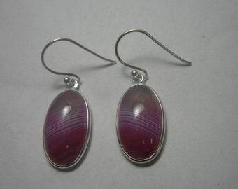 Banded Onyx Sterling Silver Earrings, Gemstone Earrings