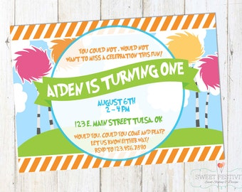 Dr. Seuss The Lorax Inspired Printable Birthday Party Invitation