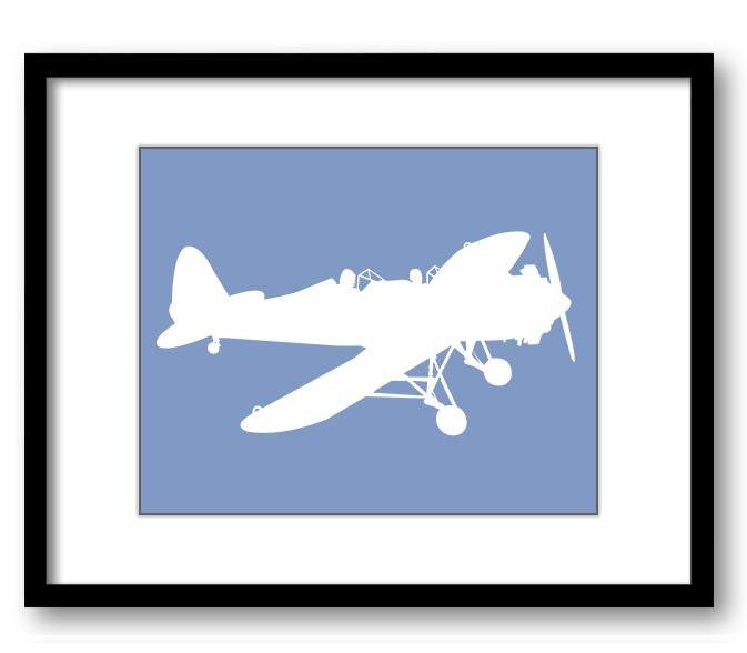 White Airplane Slate Blue Background Boys Kids Room Wall Art Print Boys Art Nursery Art Nursery Prin