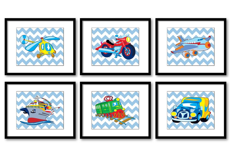 Transportation Vehicles Nursery Print Child Blue Baby Boy Art Prints Set of 6 Helicopter Motorcycle