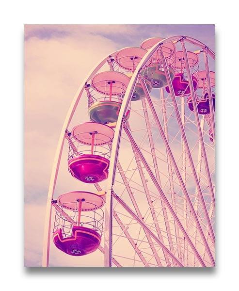 Pink Ferris Wheel Nursery Art Old Carnival Nursery Print Child Baby Art Print Vintage Fair Circus An