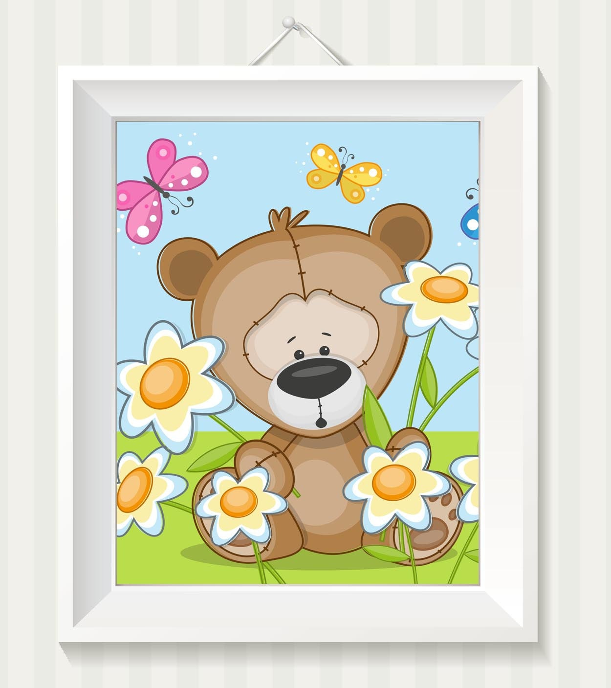 Bear Nursery Art Nursery Print Teddy Bear Baby Art Baby Animal Brown Butterfly Flowers Print Child K