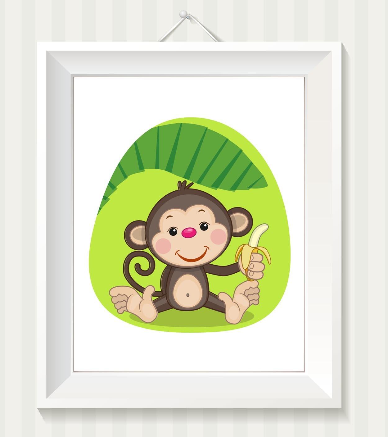 Monkey Nursery Art Monkey Nursery Print Baby Art Baby Animal Brown Beige Green Leaf Banana Print Chi