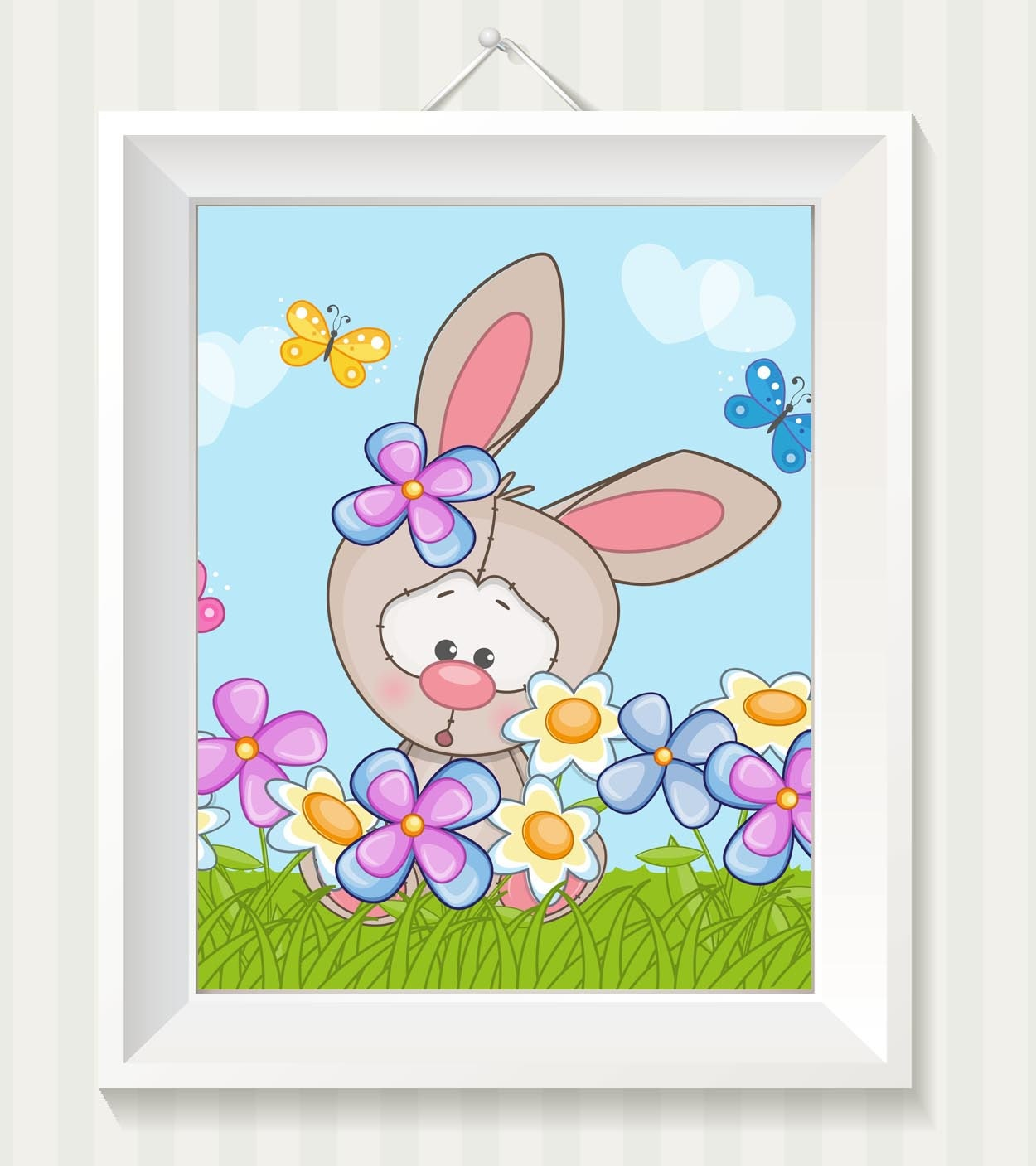 Rabbit Bunny Nursery Art Nursery Print Baby Art Baby Animal Brown Butterfly Flowers Print Child Kids