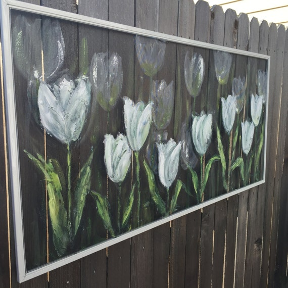 Recycled old window screen white tulips hand for Window screens for sale