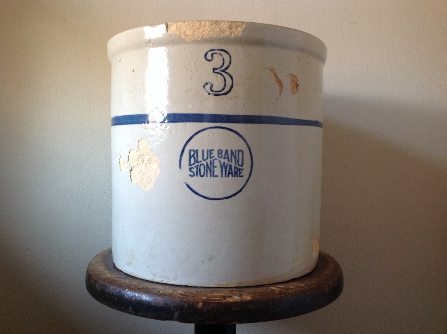 Vintage Chippy Crock Blue Band Stoneware Number 3 Gallon