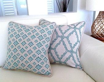 Linen Pillows Aqua Natural Linen Cushions Mediterranean Blue, Magenta , Aqua, Apricot Cushions Toss Pillows, Cushions. Beach House Cushions