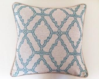 Linen Pillows Geometric Aqua Natural Linen Cushions Blue, Magenta , Aqua, Apricot Cushions Toss Pillows, Cushions. Beach House Cushions