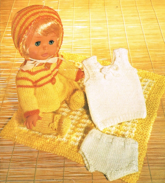 Vintage Knitting Patterns Dolls Clothes : Dolls clothes knitting pattern.12-14 doll. Vintage
