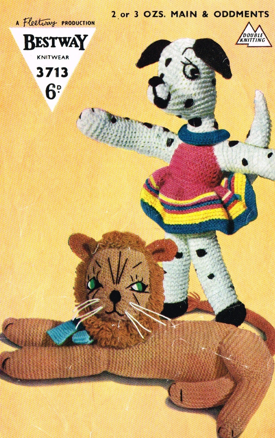 Toy Lion and Dalmation Dog knitting pattern. Vintage copy. PDF