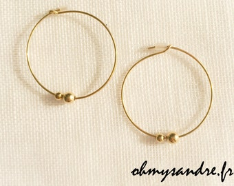 Earrings hoops gold filled Silver 925 beads
