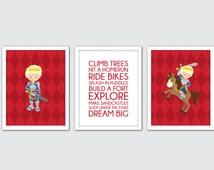 Fairytale Prince Wall Art, Knight Boys Room Decor, Knight Nursery Art, Prince Charming Print, Medieval Prince Wall Art, Horse Nursery Art