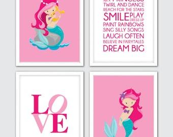 Mermaid Nursery Wall Art, Set Of 4, Mermaid Themed Room, Wall Paper Baby Girl, Mermaid Decorating, Mermaid Nursery, Mermaid Wall Art