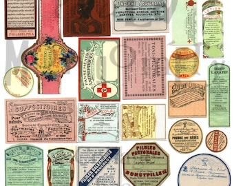 Vintage Medical Labels Number 1 Digital Download Collage Sheet