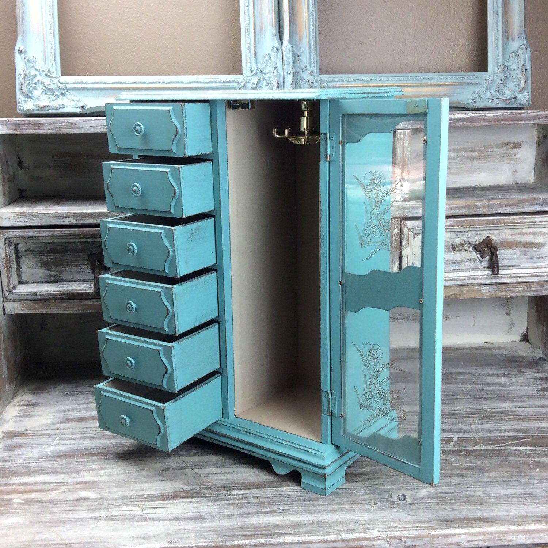 VINTAGE JEWELRY BOX Turquoise Jewelry Armoire With Plexiglass