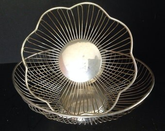 Your choice flower or oval silver plated decorative wire style serving baskets bowls marked