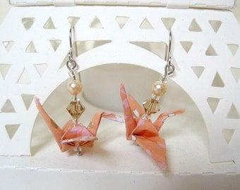 Origami Crane Earrings - Paper Earrings - Origami Jewelry - Paper Jewelry - Paper Crane Jewelry - WY12 - VonnesHandmadez