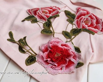 Red Peony Large Vintage Flower Lace 3D Appliques Embroidery  Venise Lace Patch for Costume Design