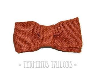 Boy's Rust Burlap Bow Tie Clip On