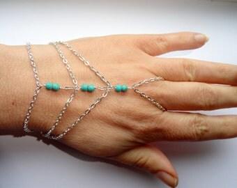 Silver turquoise slave bracelet, Multistrand turquoise slave bracelet, Slave bracelet ring, Turquoise hand bracelet, Slave bracelet UK