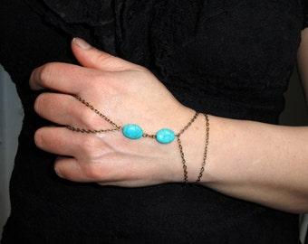 Slave bracelet, Antique bronze turquoise slave bracelet, Finger bracelet, Bohemian hand jewelry, Bronze turquoise bracelet ring, Gifts
