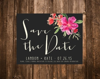 Floral Save the Date, Tropical, Hibiscus, Summer