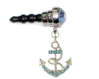 Beautiful Ship's Anchor Aqua Jeweled Aqua Gem Cell Phone Charm 3.5mm. Earphone Jack Dust Plug for Mobile Iphone Android Tablet Ereader