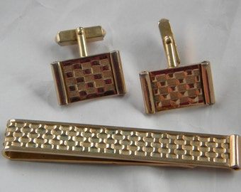 Swank Signed Classic Art Deco Tie Bar and Cuff Link Set