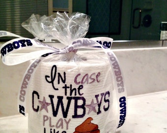 Ready to ship!  Dallas Cowboys embroidered toilet paper gag gift