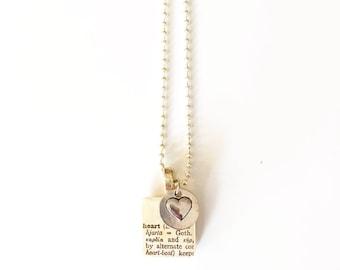 Heart Scrabble Tile Necklace