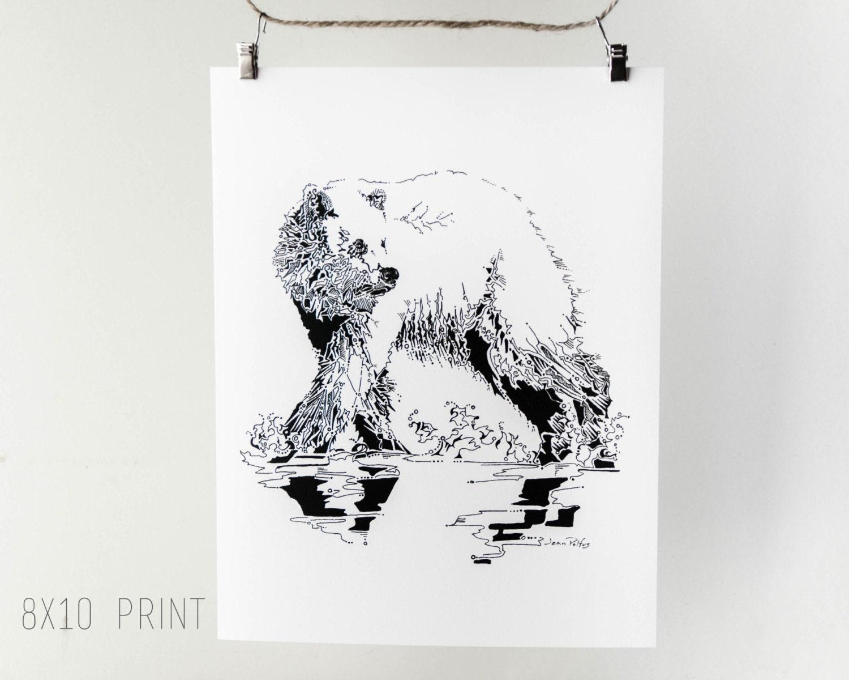 Grizzly bear dessin ours oeuvre d cor mural par - Dessin de grizzly ...
