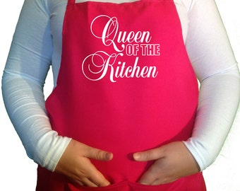 Queen Of The Kitchen Apron Cooking Kitchen Funny Novelty Chefs Apron