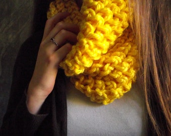 Bulky handknit yellow cowl