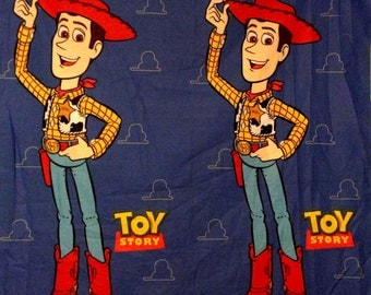 Disney Pixar Toy Story Woody Buzz Lightyear Panel Fabric - Navy Blue