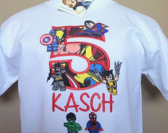 6 Super Hero Lego Number T-shirt