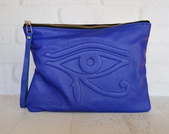Large Cobalt Blue Leather Clutch with Eye of Ra Motif, evil eye, Leather Pouch, leather clutch , iPad pouch, custom handmade to order